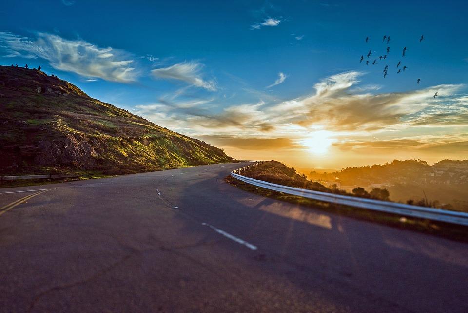 Winding Road, Road, Travel, Sunrise, Landscape, Nature
