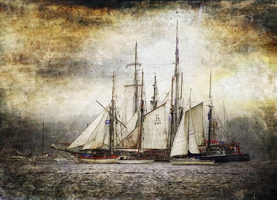 Art, Parchment, Tall Ship, Kiel Week, Windjammer