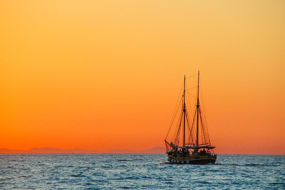Ship, Sea, Sunset, Windjammer, Masts, Sailing Masts