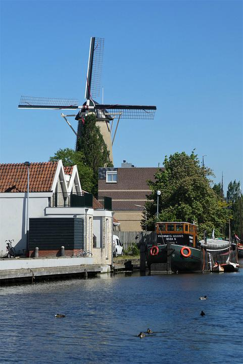 Windmill, City, Gouda, Canal, Boat, Buildings, Channel