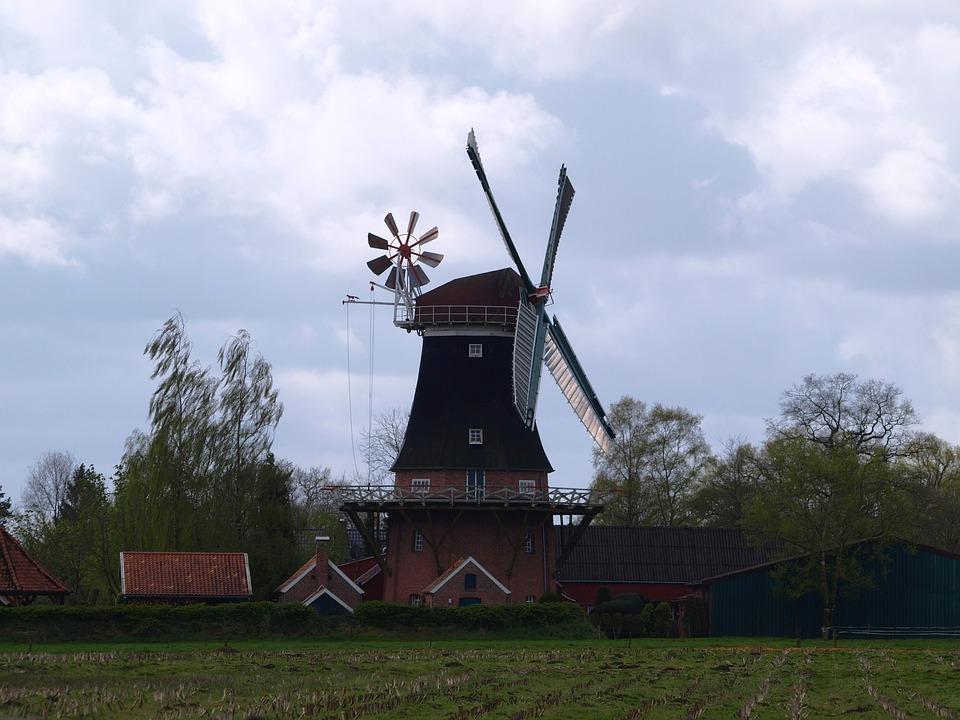 Windmill, Flour Mill, Mill, East Frisia, Pinwheel