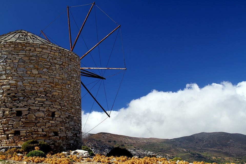 Greece, Naxos, Cyclades, Windmill, Hellas, Mountains