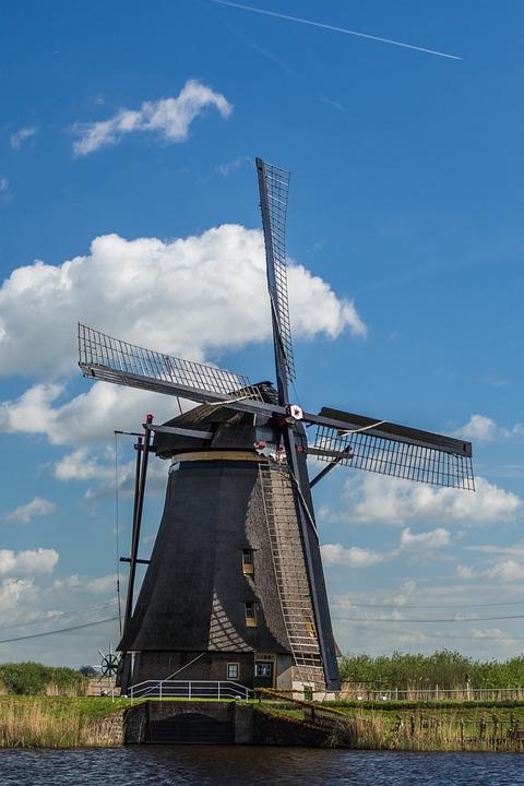 Windmill, Netherlands, Kinderdijk