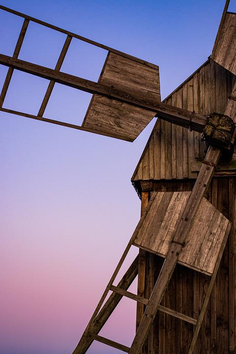 Pinwheel, Wood, Sunset, Windmill, Mill, Agriculture