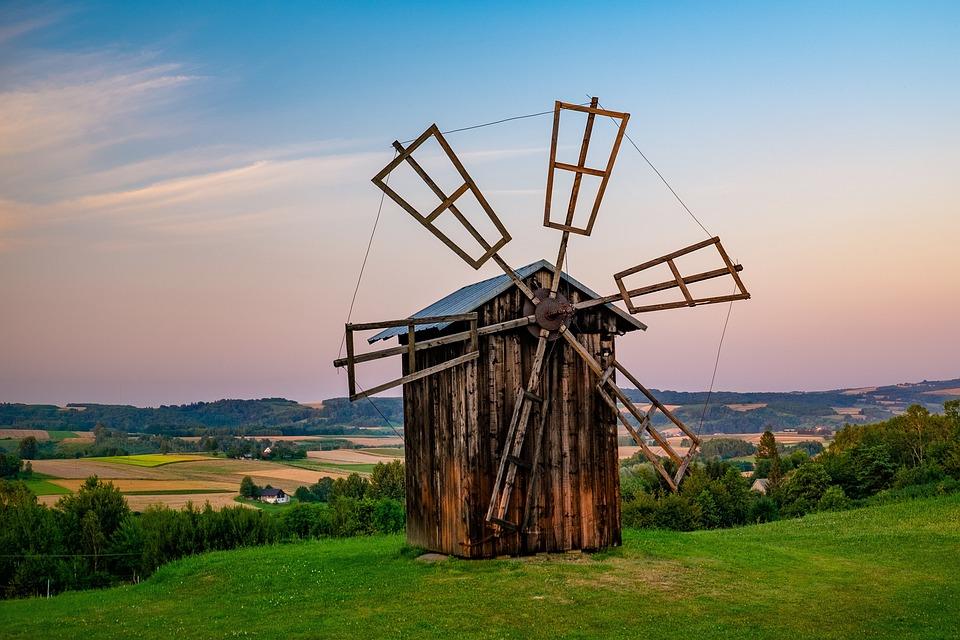 Old Windmill, Hill, Rural, Windmill, Structure, Scenic
