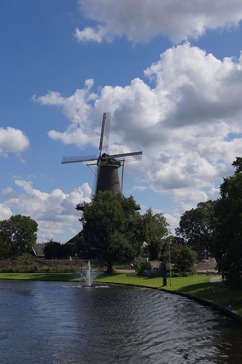 Clouds, Windmill, Leiden, Holland, The Netherlands