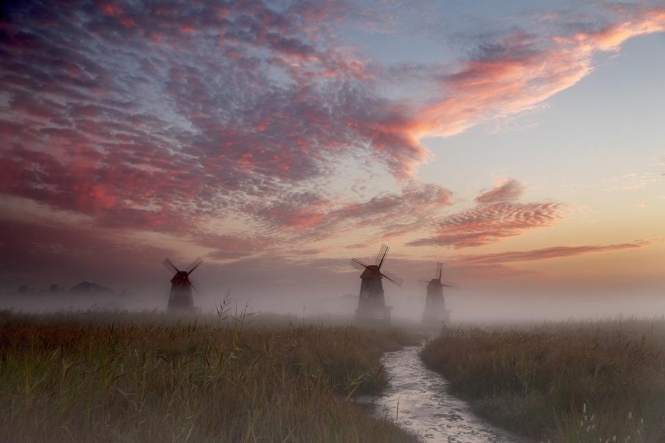Windmills, River, Stream, Field, Grass, Sunrise, Fog