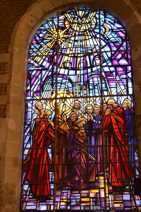 Stained Glass, Colorful, Window, Church, Blue, Dove