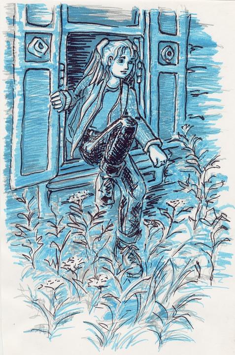Felt-tip Pen Drawing, Figure, Man, Girl, Window, Night