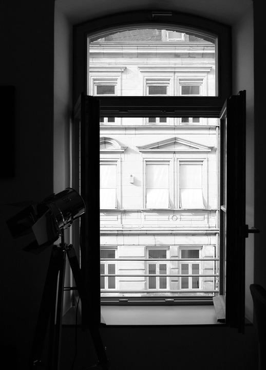 Window, Floor Lamp, Black And White