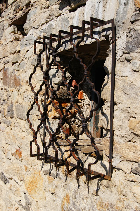 Window, Grid, Wall, Old, Wrought Iron