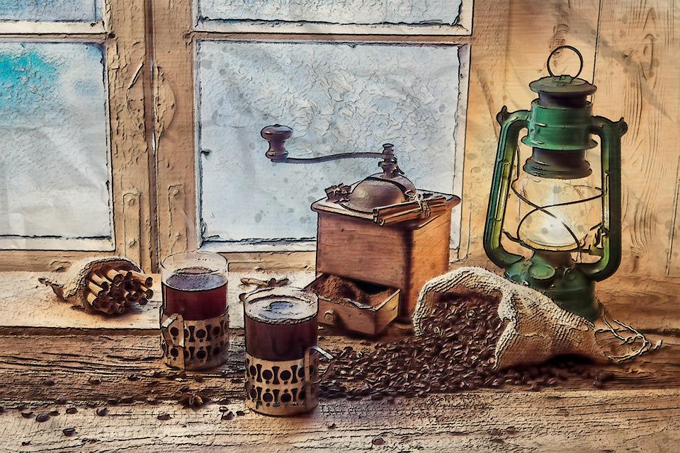 Vintage, Old, Lantern, Light, Window, Coffee, Cup