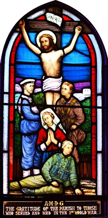 War, Memorial, Window, Stained Glass Window, Jesus