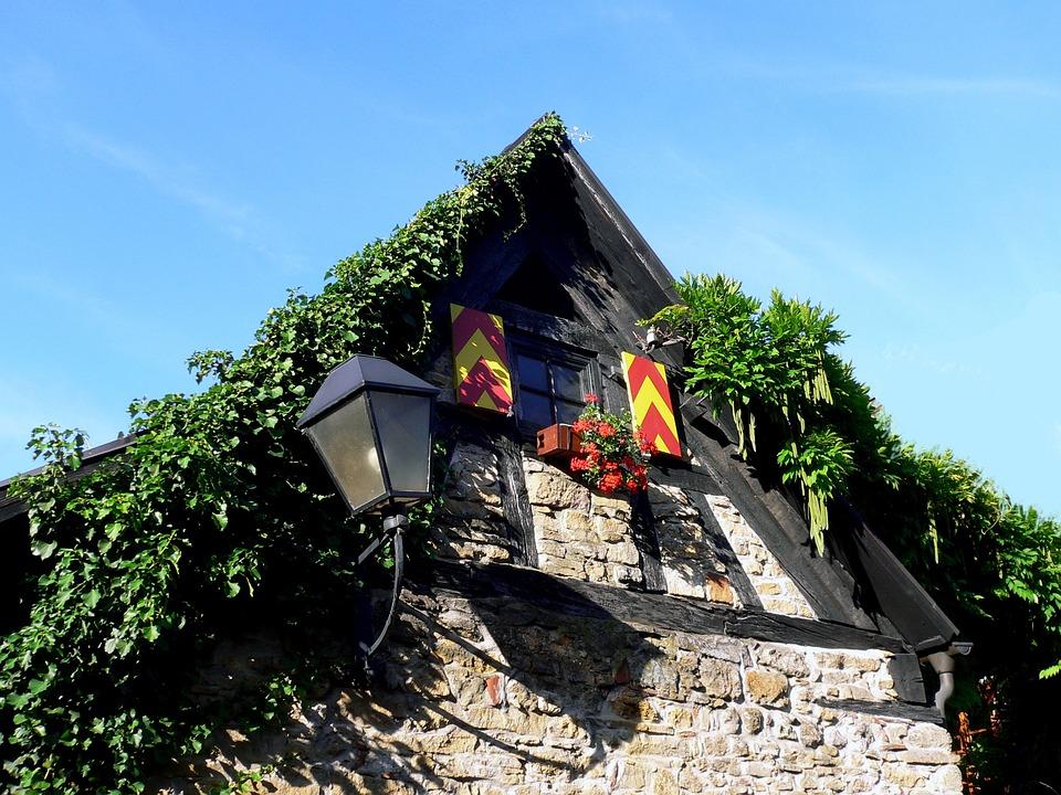Hausgiebel, Lantern, Old, Overgrown, Green, Window