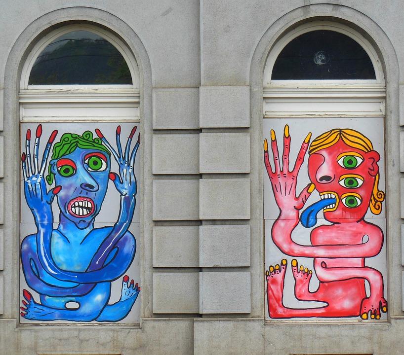 Prague, Old Town, Window, Graffiti, Hauswand