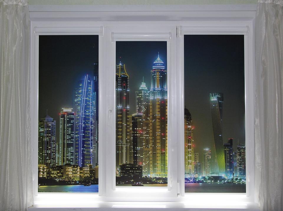 Window, City, Photo, Jalousie, Night, View, Lights