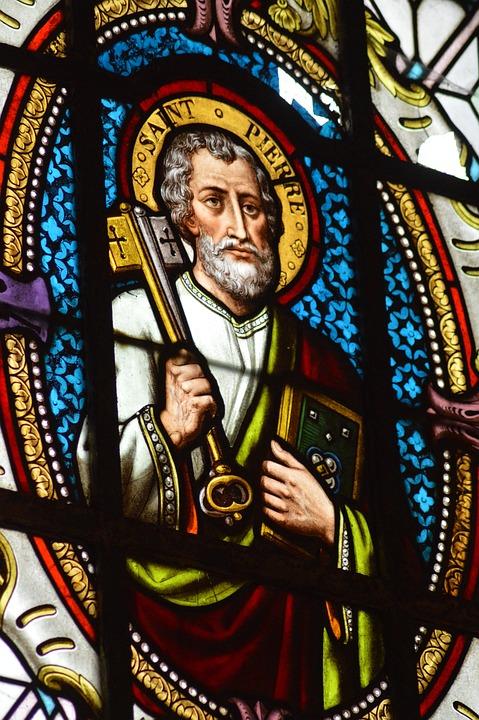 Stained Glass, Window, Church, Saint, Pierre, Key
