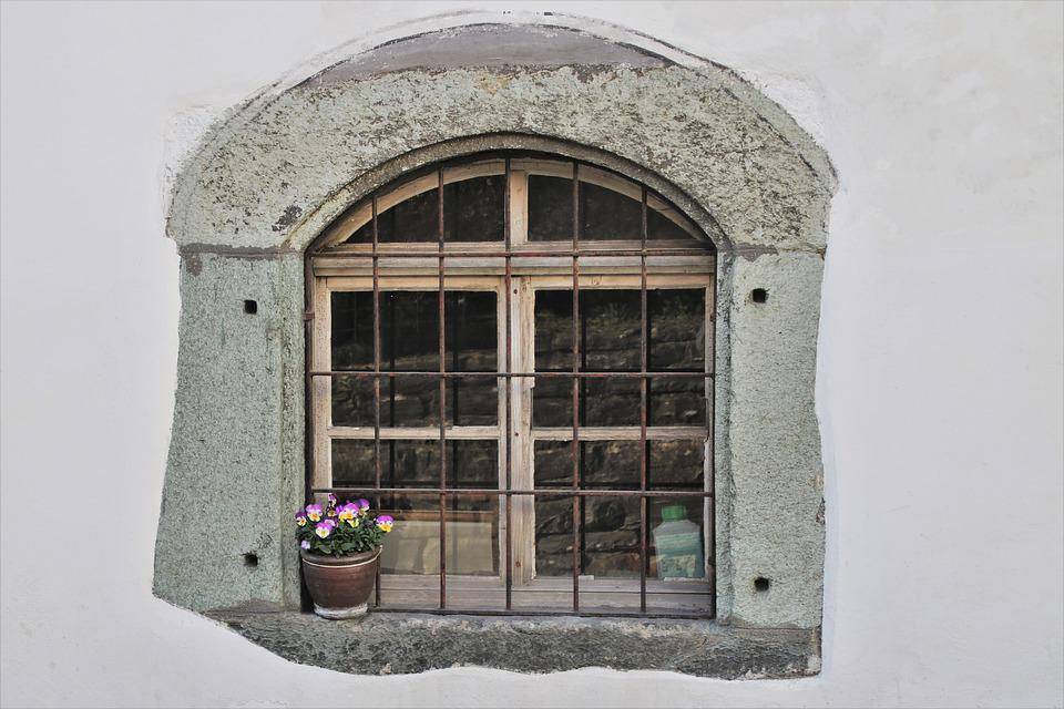 Grating, Metal, Old Windows, Forged, Stone, Window Sill