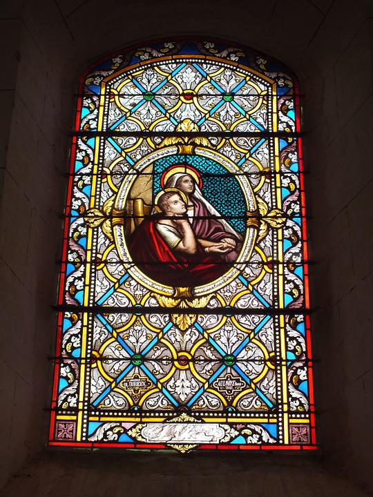 Stained Glass, Window, Repentance, Church, Religion