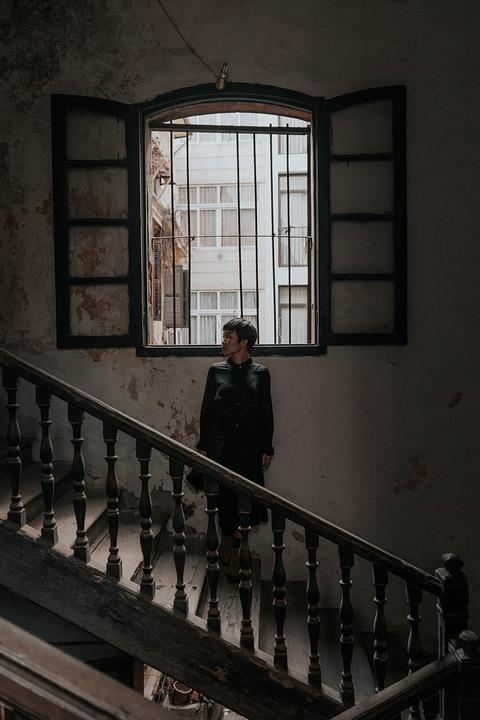 Woman, Model, Stairs, Window, Female, Railing, Building