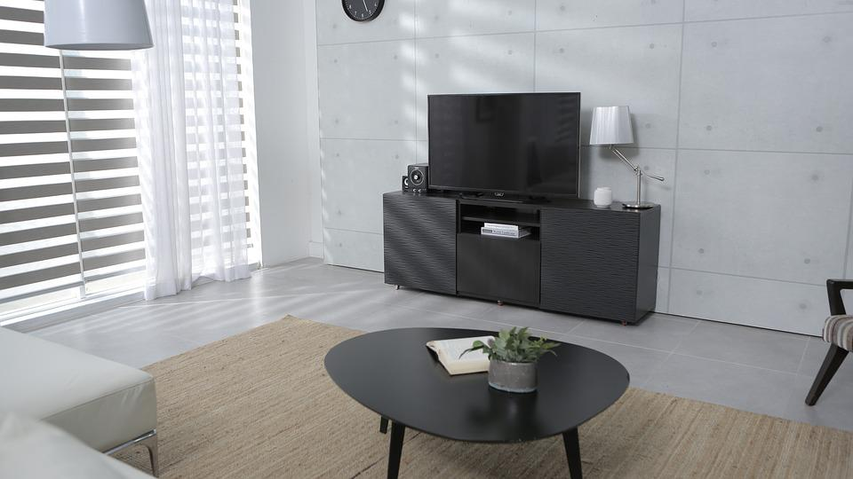 Living Room, Tv, Table, A Drawer, Home, Curtain, Window