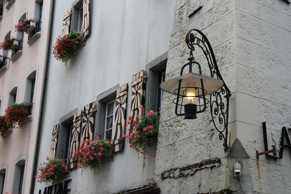 Lantern, Switzerland, Aarau, Lamp, Building, Windows