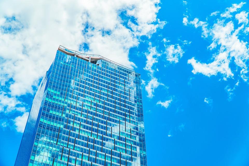 Skyscraper, Cloud, Architecture, Modern, Windows, Blue
