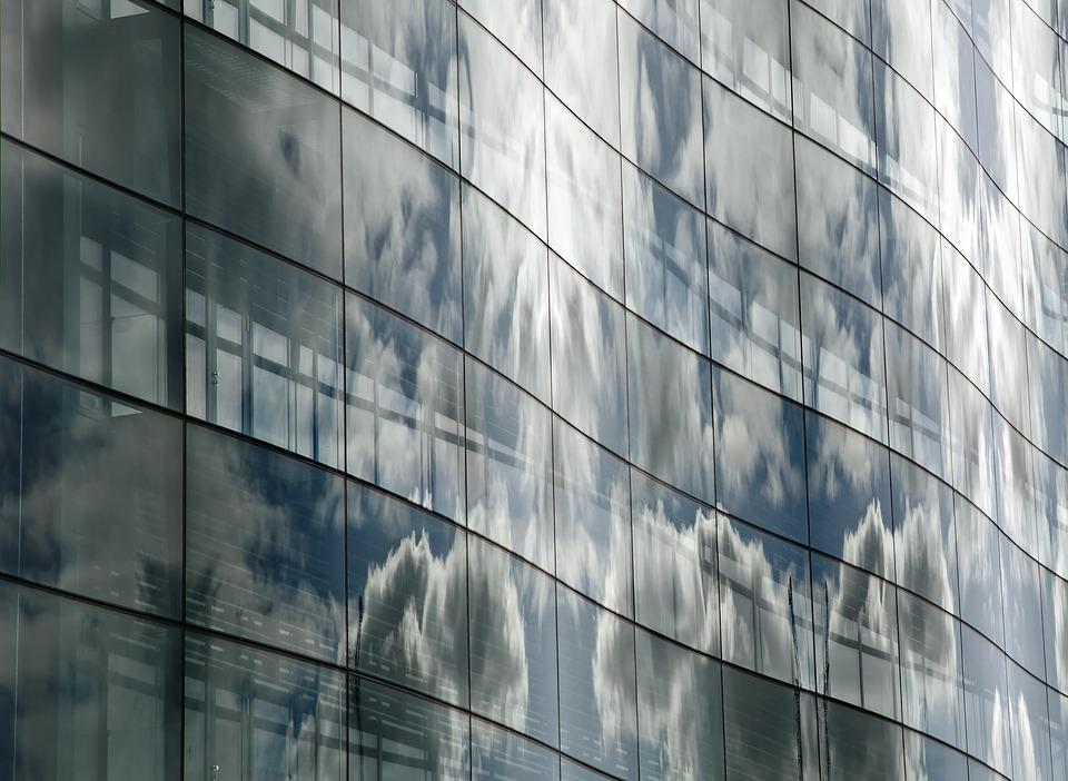 Windows, Reflection, Clouds, Glass, Office