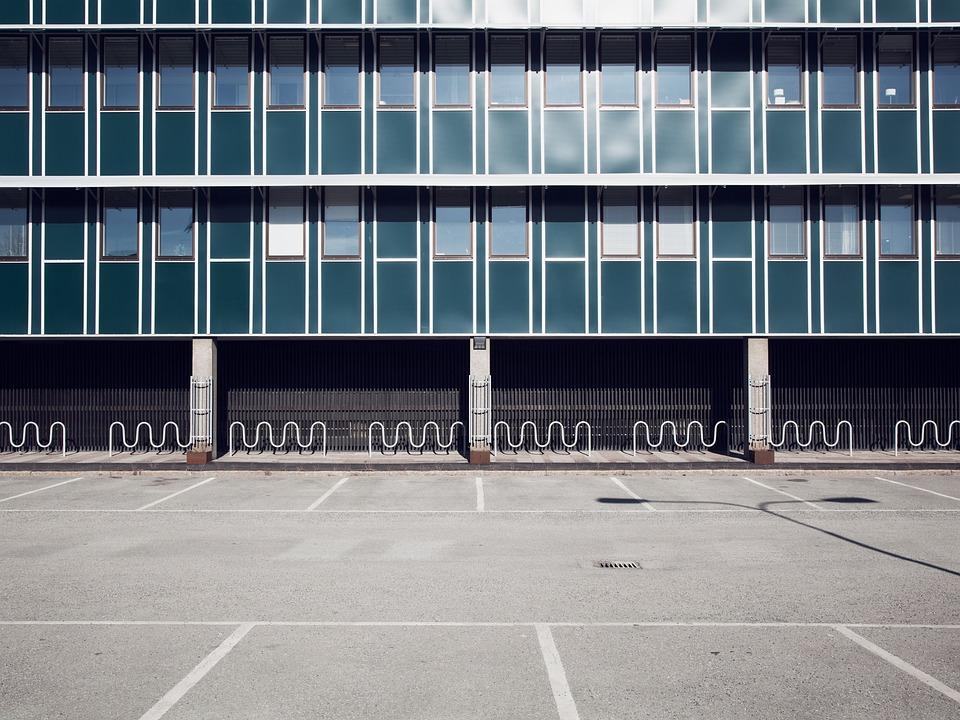 Architecture, Building, Glass, Parking Lot, Windows