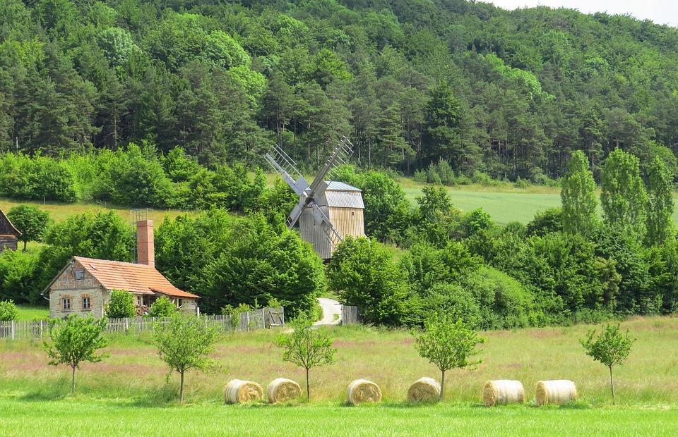 Windmill, Mill, Windräder, Landscape, Field, Meadow