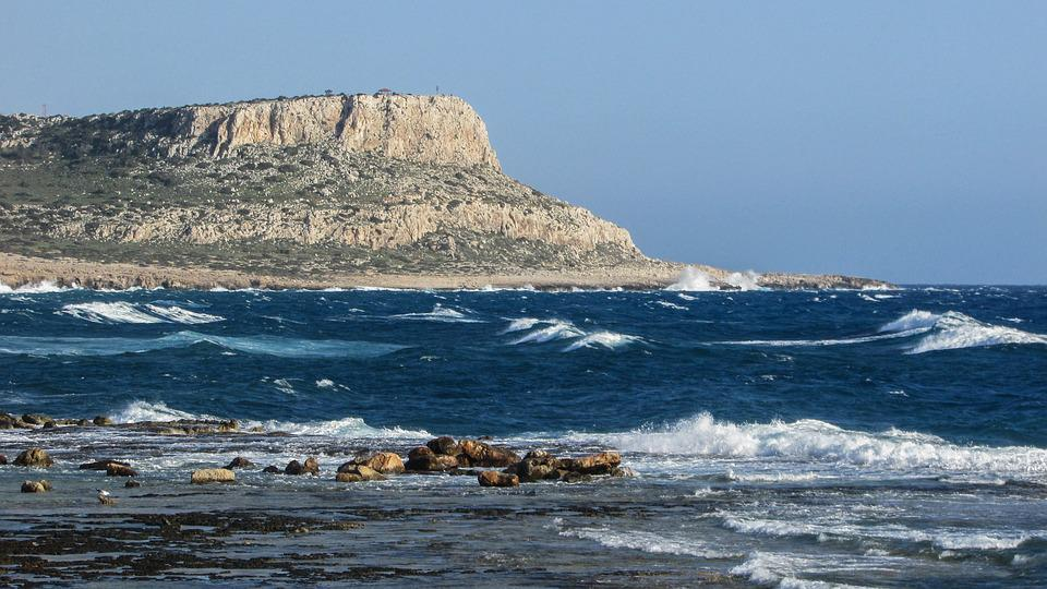 Cyprus, Cavo Greko, Rocks, Rocky Coast, Waves, Windy