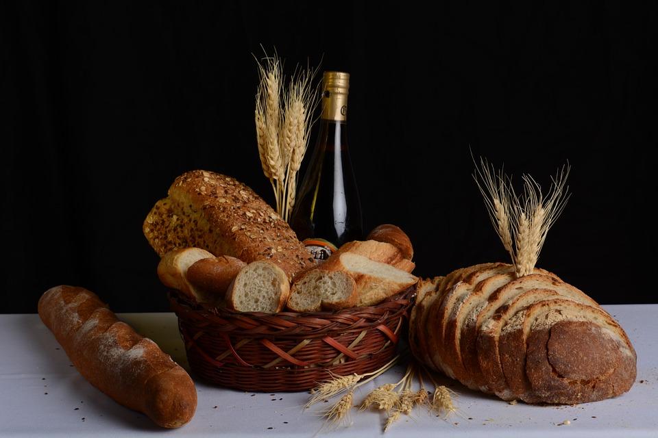 Basket, Breads, Food, Wheat, Wine