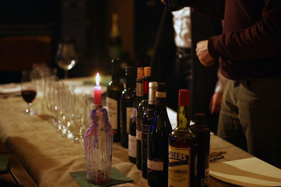 Wine, Bottle, Candle