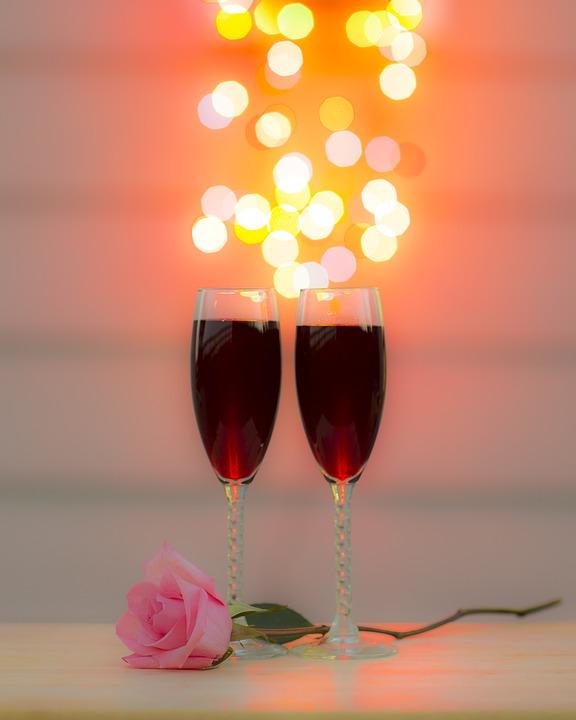 Romantic Evening, Wine, Bokah, Romantic, Evening