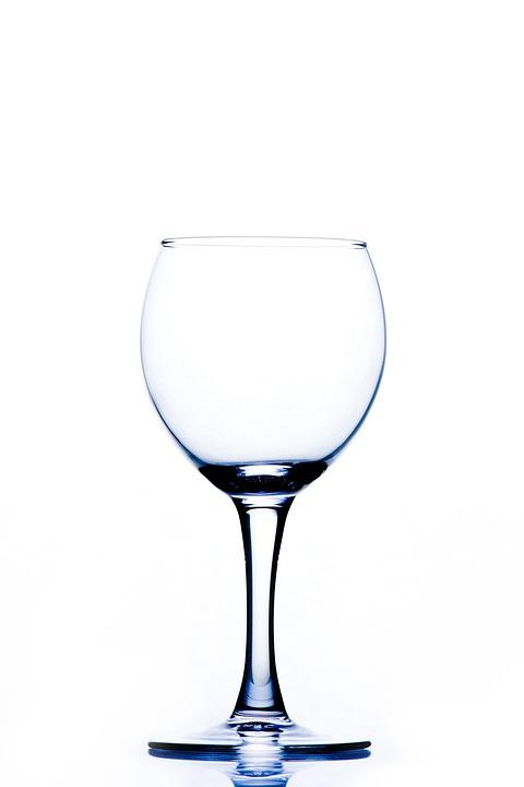 Wine Glass, Empty, Shiny, Clear, Tableware, Glass