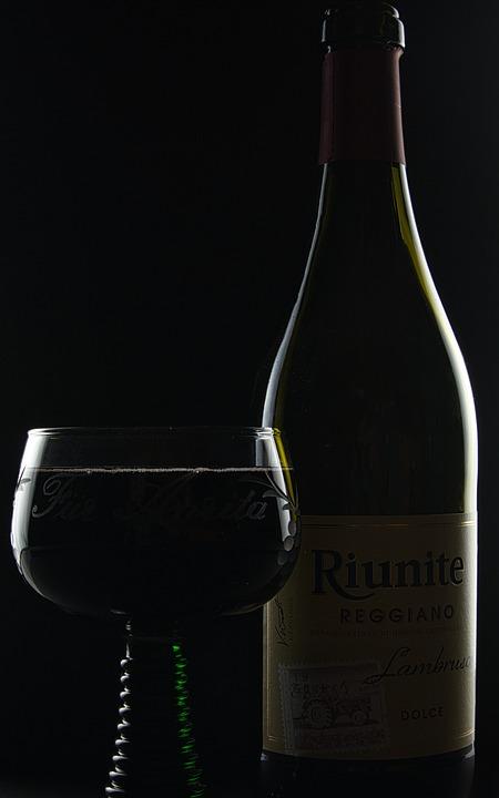 Wine, Drink, Alcohol, Glass, Black Background