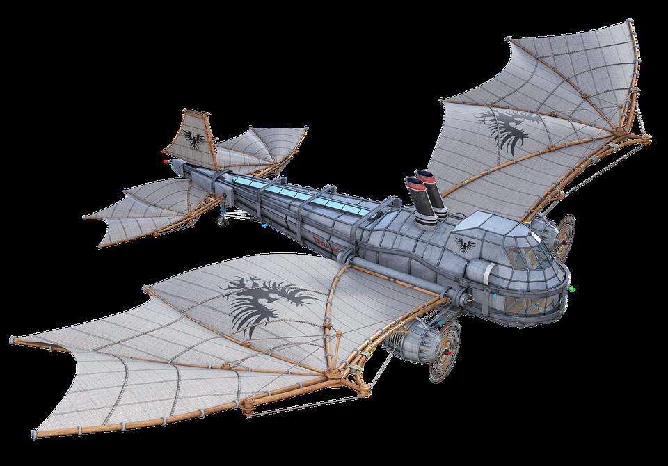 Steampunk, Aircraft, Airship, Flying, Wing