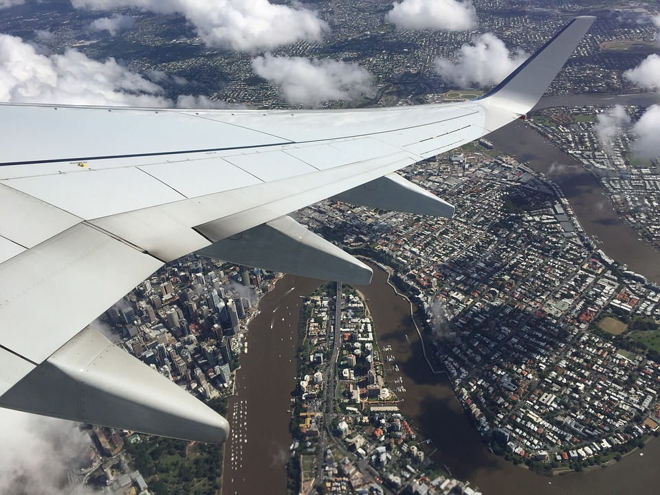 Aero Plane, Wing, Travel, Brisbane, River