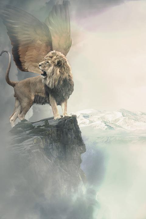 Lion, Wing, Winged Lion, Mythology, Rock, Mountains