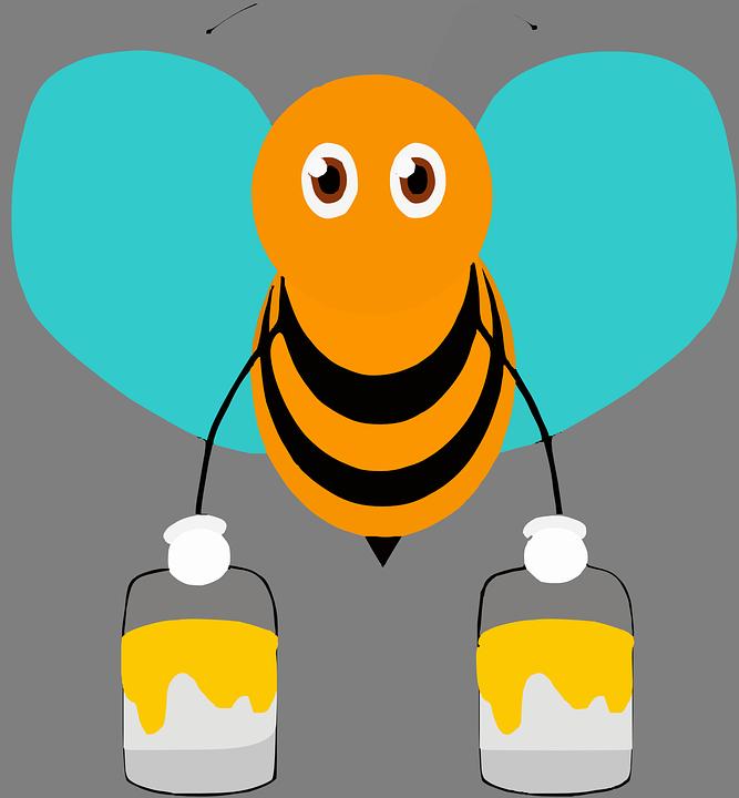 Bee, Insect, Honeybee, Wings, Paint, Pollen, Buckets