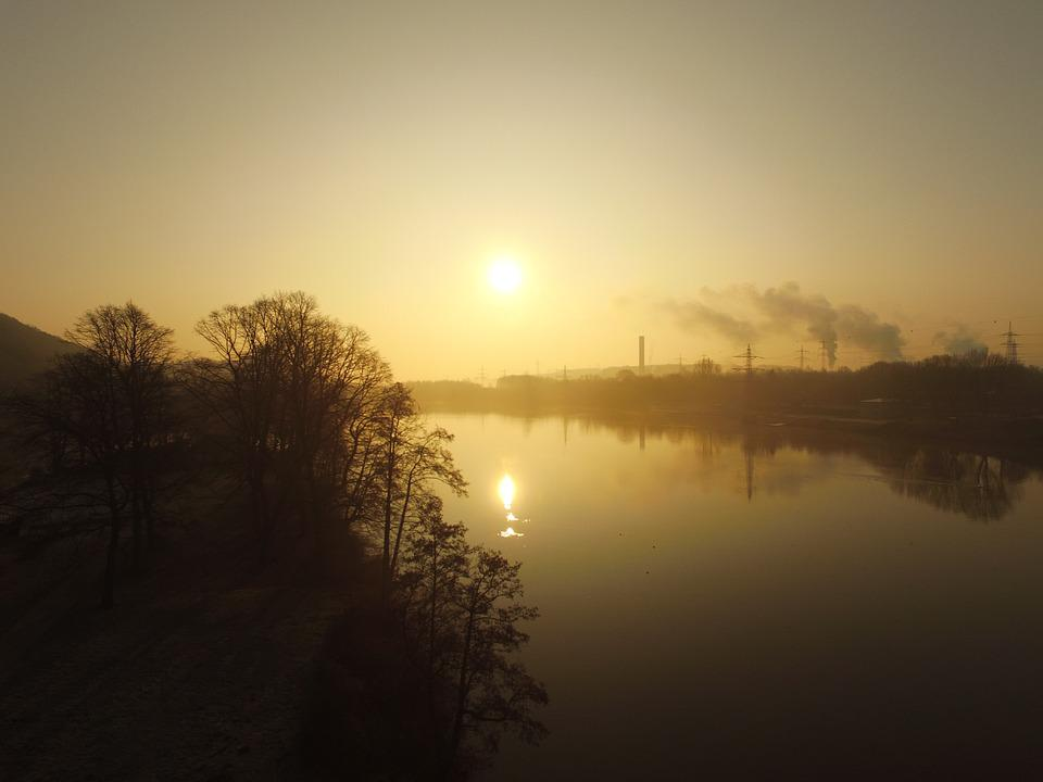 Hagen, Hengsteysee, Aerial View, Winter, Sunrise, Sky