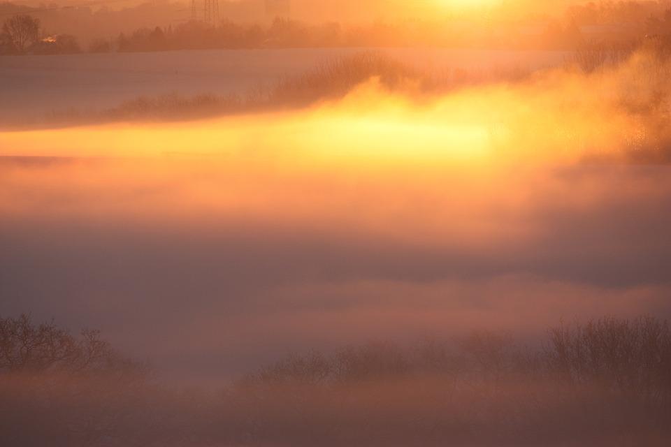 Fog, Sun, Landscape, Winter, Evening, Afterglow