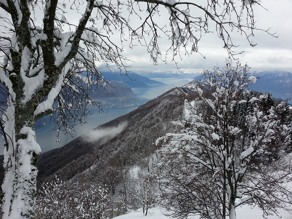 Lake Como, Snow, Alps, Winter, Government