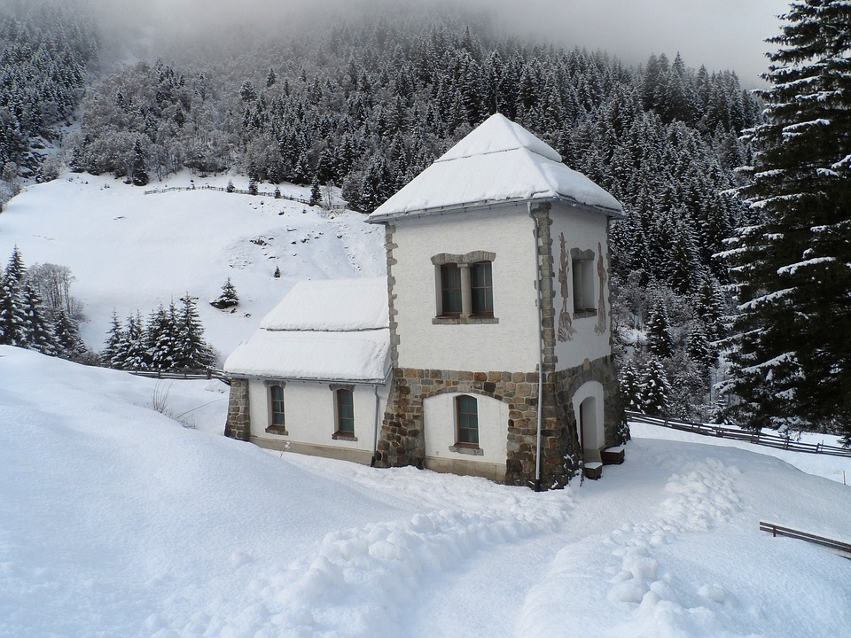Austria, Chapel, Building, Winter, Snow, Ice, Forest