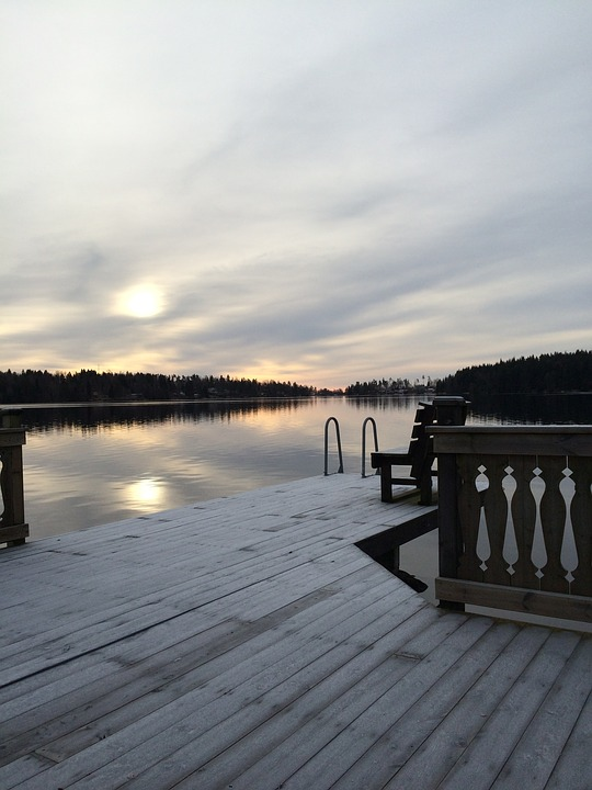 Winter, Bridge, Lake, Ice, Mirroring, Snow, Water, Wood
