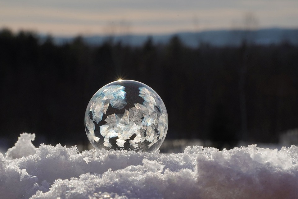 Frozen, Bubble, Winter, Ice, Crystals