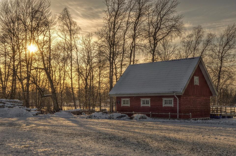 Building, Cottage, Näsudden, Värnamo, Sweden, Winter