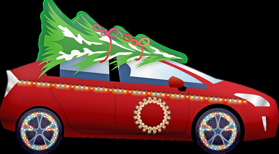 Christmas Car, Christmas Tree, Christmas, Snow, Winter