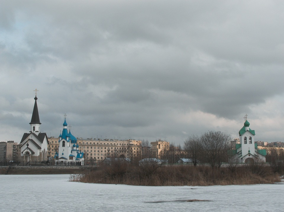 Winter, Pond, Church, Sky, Architecture, City