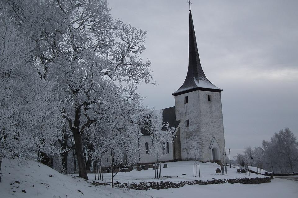 Church, Winter, Snow